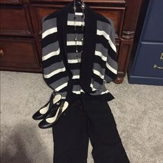 Chicos open front cardigan Open front cardigan in black, cream, and gray stripes. Very cute! Chico's Sweaters Cardigans
