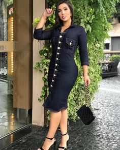 Sexy Outfits, Jean Dress Outfits, Jeans Top Dress, Classy Outfits, Chic Outfits, Fashion Outfits, Long Denim Skirt Outfit, Demin Dress, African Fashion Ankara