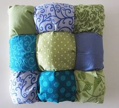 puff pillow tutorial. Like the puff quilt, only a little different and smaller.