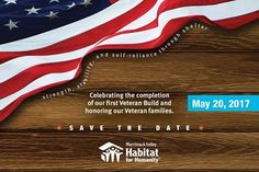 Save the Date - May 20, 2017. Our signature annual fundraising event. This year we celebrate the completion of our first ever Veteran Build and the families that will be moving into their new home at Phillips Street in Lawrence, MA. Join us May 20, 2017  #MVHH #HabitatForHumanity #HfH #BuildingDreams