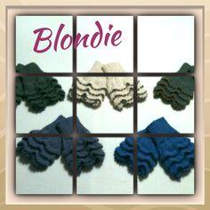 Wristwarmers in Alpaca Silk and pearls. Model Blondie.