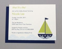 Green Sailboat A2 Flat Note Baby Shower Invitations by RatDogInk, $17.00
