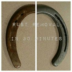 Here are before and after pictures of my horse shoes after I soked them in white…