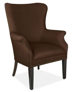 Michelle Chair, Polished Nickel, Mohair, Solid, Bitter Chocolate
