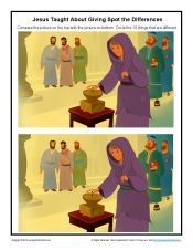 Children's Spot the Differences Bible Activity - Jesus Taught About Giving