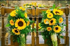 Gorgeous sunflower display for a civil ceremony at Barberstown Castle!