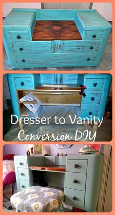 Dresser to Vanity Conversion. With hair tool holster, makeup brush holders and hidden storage! Even a chair to bench re-do! Perfect diy.