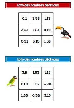 Loto des nombres décimaux - CM1-CM2 Cycle 3, Fractions, Math Activities, School, Game Boards, Teaching