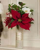 Poinsettia & Magnolia Vase $129.00 #coupay #gifts #flowers