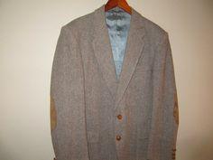 vintage herringbone wool mens jacket with elbow pads by mellowrabbit, $40.00