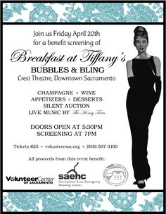 Breakfast at Tiffany's Screening & Silent Auction - Fundraiser for Volunteer Center of Sacramento - I'm think Bubbles and Baubles would be an awesome theme! Fundraiser Themes, Fundraising Events, Fundraising Ideas, Gala Invitation, Invitation Fonts, Gala Themes, Party Themes, School Auction, Dinner Themes