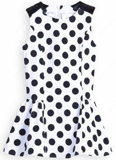 White Contrast Shoulder Sleeveless Polka Dot Dress