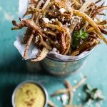 Skinny Greek Feta Fries with Roasted Garlic Saffron Aioli   halfbakedharvest.com @hbharvest