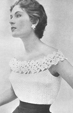 1955 Glamorous Evening Blouse Vintage Crochet Pattern PDF 089 on Etsy, $3.75