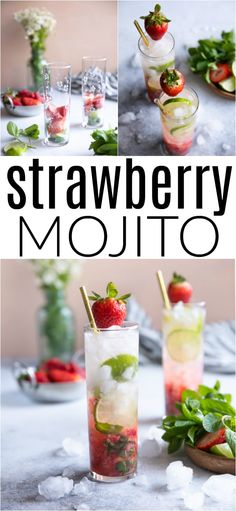 Strawberry Mojito A juicy and refreshing sparkling limoncello cocktail made with only 3 simple Summer Cocktails, Cocktail Drinks, Fun Drinks, Healthy Drinks, Vodka Drinks, Winter Drinks, Drinks Alcohol, Beverages, Party Drinks