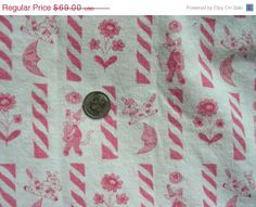 SALE:) Vintage Feedsack Cotton Quilting Fabric -  STILLaSACK - NOVELTY Baby Animals, Moon, Flowers on Pink & White    - 36 x 35