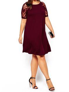 Wine Red Lace Raglan Short Sleeves Plus Dress 17.00