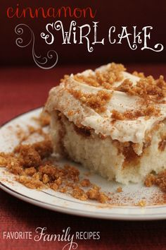 I can't get enough of this delicious Cinnamon Swirl Cake! #cake #cinnamon