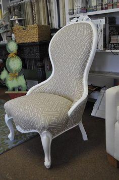 Victorian Chair In Geometric Print | Victorian Queen Anne Chair