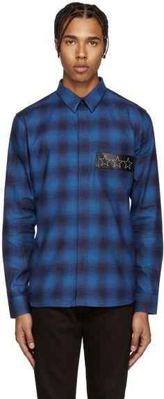 GIVENCHY Blue Plaid Stars Shirt. #givenchy #cloth #shirt