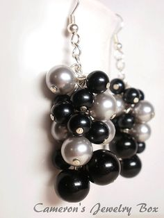 Black and Silver Earrings, Beaded Swarovski Pearl Earrings, Pearl Cluster Earrings, Multicolored, Bridesmaid Gift by CameronsJewelryBox on Etsy https://www.etsy.com/listing/75448863/black-and-silver-earrings-beaded