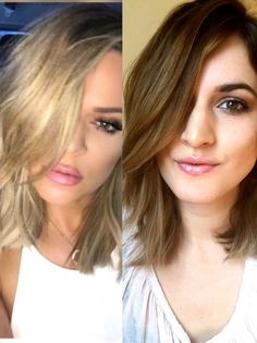 HOW TO: Khloe Kardashian Lob Hairstyle. Spray DRY hair w/ sea salt spray, blow dry, then curl at ROOT only w/ in. wand except bang do in middle, end w/ dry shampoo Short Long Bob, Textured Long Bob, Lob Hairstyle, Cute Hairstyles, Amazing Hairstyles, Khloe Kardashian Hair Short, Wand Curls, Blow Dry, Beauty And The Beast