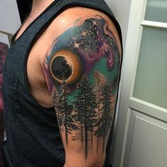 Night sky and trees tattoo. This is so pretty!!
