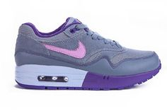 Nike Air Max 1 Sports Shoes for Women Purple Pink Gray Online Sale Price:$72.05 FREE SHIPPING by DHL