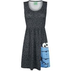 - All-over print - Sublimation print - Contoured fit - Sleeveless  Cookie Monster from Sesame Street is happily eating his way across the medium-length Sesame Street Cookie Monster Dress with sublimation print.
