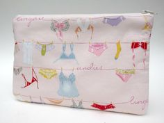 Makeup Bag Slim in Pink Lingerie on the Line by paisleybaby, $15.00