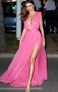 Long pink dress.