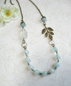 Pale blue necklace jade beads vintage style by botanicalbird ♥