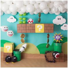 birthday party decorations 306385580902266418 - Aylah's Mario Party Super Mario Party, Super Mario Birthday, Mario Birthday Party, 6th Birthday Parties, Birthday Party Decorations, Super Mario Room, Mario Party Games, Baby Boy Birthday Themes, Nintendo Party