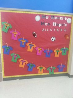 First day bulletin board for sports theme. Typed the kids first name and gave them a jersey number typed in ms word. Cutout and glued to the jersey cutout.  sc 1 st  Pinterest & Bulletin Board Sports Theme | Class Ideas | Pinterest | Bulletin ...