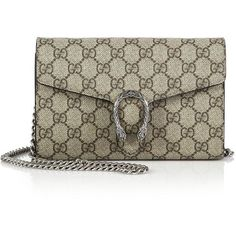 Gucci Dionysus Coated Canvas Chain-Strap Wallet ($1,200) ❤ liked on Polyvore featuring bags, wallets, apparel & accessories, credit card holder wallet, chain shoulder bag, snap wallet, gucci bags y brown leather wallet