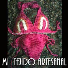 MODELO MARYLIN. BIKINI EN BRILLANTES COLORES .  Infinidad de creaciones tejidas al crochet, para damas, bebés, niños, adolescentes y hombres. Realizo diseños personalizados por encargo.