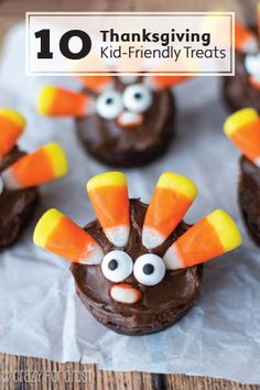 These 10 Thanksgiving Kid-Friendly Treats are the perfect finishing touches to your dessert table. They're such easy recipes that most of them can be made with a simple box mix and a little creativity with your leftover Halloween candy!