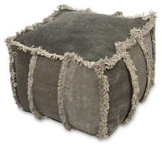 Multi Grey Hand Woven Stone Wash Ottoman - Lost Design Society