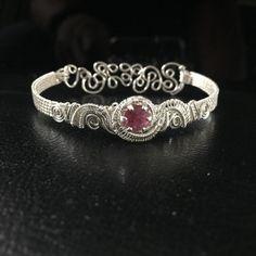 Wire Wrapped Jewelry Handmade Pink Bracelet Sterling by AOAjewelry