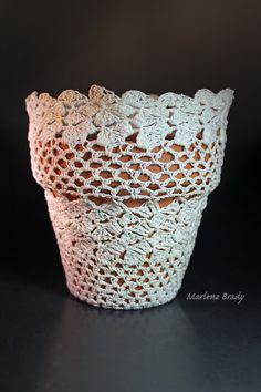 crochet flower pot   Crocheted Flower Pot Cover