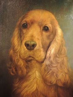 Original-antique-oil-painting-on-canvas-Spaniel-hunting-dog-19th-with-old-frame