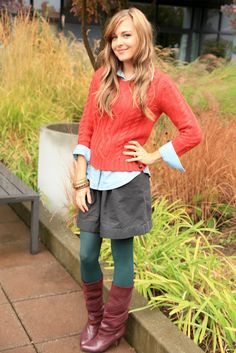 Great fall outfit - Coral top with shirt, teal colored tights and brown boots. True warm autumn