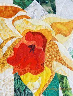 Daffodil Applique PDF Quilt Pattern  Art Quilt by Jane L Kakaley  close up  www.etsy.com/shop/JaneLKakaley