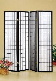 $44.56 / Amazon.com: Coaster Oriental Style 4-Panel Room Screen Divider, Black Framed: Home & Kitchen