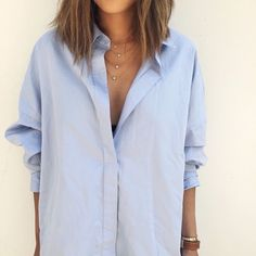 A blue button down is a classic staple.