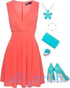 Coral Homecoming Dress V neckline Homecoming Dresses A Line Homecoming Dress Chiffon Homecoming Dress Short Prom Dress Cheap Parties Gowns Sweet 16 Dress Graduation Gown Day Dresses, Cute Dresses, Dress Outfits, Short Dresses, Dress Up, Summer Dresses, Mode Outfits, Fashion Outfits, Womens Fashion