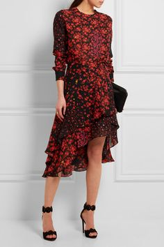 EXCLUSIVE AT NET-A-PORTER.COM. To celebrate its 20th anniversary, Preen by Thornton Bregazzi has created an exclusive collection that showcases its signature prints and elegant silhouettes. Cut from hammered-silk and detailed with romantic red blooms, this lightweight piece drapes fluidly into soft ruffles that gently move as you walk. We like it best with the matching top and heels.