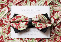 Men Bowtie Bow Tie for Men Pocket Square   Boho Bow by NAFEstudio