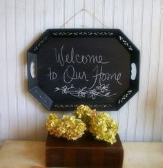 Vintage Upcycled Tray into Chalkboard by VintageHomeShop on Etsy, $29.00