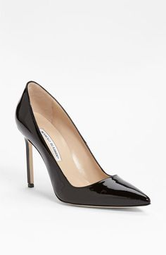 Black patent is perfect for evening looks..dresses, skirts, and even dark denim. Very sexy!  Manolo Blahnik 'BB' Pointy Toe Pump available at #Nordstrom